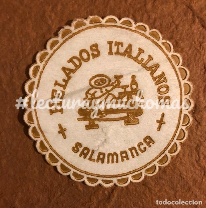 ANTIGUO POSAVASOS DE HELADOS ITALIANOS SALAMANCA. 8 CMS DE Ø. DE PAPEL. (Coleccionismo en Papel - Varios)