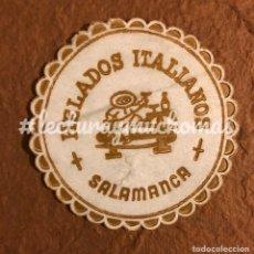 Coleccionismo Papel Varios: ANTIGUO POSAVASOS DE HELADOS ITALIANOS SALAMANCA. 8 CMS DE Ø. DE PAPEL.. Lote 176215300