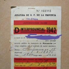 Coleccionismo Papel Varios: AUTORIZACIÓN INTERPROVINCIAL TRANSPORTE DE MERCANCIAS.VEHÍCULO HISPANO SUIZA.CLASE D.1942.ANTIGUO. Lote 176270080