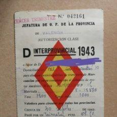 Coleccionismo Papel Varios: AUTORIZACIÓN INTERPROVINCIAL TRANSPORTE DE MERCANCIAS.VEHÍCULO HISPANO SUIZA.CLASE D.1943.ANTIGUO. Lote 176270992