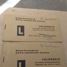 Coleccionismo Papel Varios: PAREJA DE TALONARIOS CLASES PRÁCTICAS - AUTOESCUELA EL CID - VALENCIA - AÑO 1969 - LEER DESCRIPCIÓN. Lote 176774070