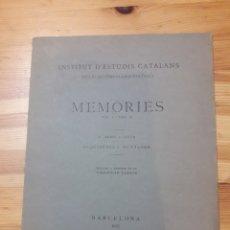 Coleccionismo Papel Varios: MEMORIES INSTITUT ESTUDIS CATALANS A. RUBIÓ I LLUCH 1927 PAQUIMERES I MUNTANER HCA ARQUEOLOGICA. Lote 176925894