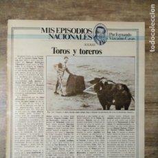 Coleccionismo Papel Varios: MFF.- 1 HOJA. TOROS Y TOREROS. PEPE LUIS VAZQUEZ LLEGO A DISPUTAR LA SUPREMACIA A MANOLETE.-. Lote 176925925