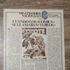 Coleccionismo Papel Varios: MFF.- 1 HOJA. CUANDO LOS COMICS SE LLAMABAN TEBEOS. MALLORQUI CREADOR DEL COYOTE. EN LOS AÑOS 40. Lote 176929334