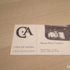 Coleccionismo Papel Varios: TARJETA COMERCIAL CASA DE ALDEA CASA BOUSOÑO COAÑA. Lote 176946733