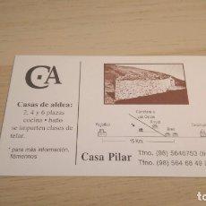 Coleccionismo Papel Varios: TARJETA COMERCIAL CASA DE ALDEA CASA PILAR. Lote 176947419