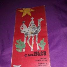 Coleccionismo Papel Varios: ANTIGUO FOLLETO TURÍSTICO GUÍA PLANO ISLAS CANARIAS AÑO 1965.MAPA TURÍSTICO DE FIRESTONE HISPANIA. Lote 177077838