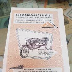 Coleccionismo Papel Varios: ANTIGUA PUBLICIDAD MOTOCARROS ROA INDUSTRIAS ONIEVA MADRID . Lote 177399187