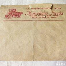 Coleccionismo Papel Varios: SOBRE PUBLICITARIO COMERCIAL CON UN CAMIÓN DE LA TRANSPORTADORA VELOZ. TRANSPORTES. CALLE TOLEDO 48. Lote 177739698