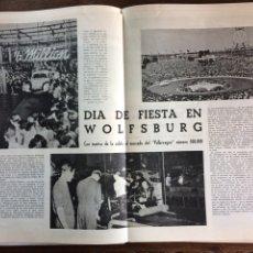 Coleccionismo Papel Varios: REPORTAJE AUTOMÓVIL VW VOLKSWAGEN ESCARABAJO 500000 UNIDADES 1953. Lote 177823714