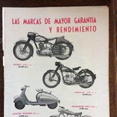 Coleccionismo Papel Varios: PUBLICIDAD MOTO DERBI ARDILLA VELOMOTOR STARA DE 1953. Lote 177824257
