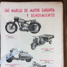 Coleccionismo Papel Varios: PUBLICIDAD MOTO MOTOCARRO VELOMOTOR STARA DERBI DE 1953. Lote 177824877
