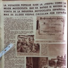 Coleccionismo Papel Varios: REPORTAJE MOTO VESPA DE 1955. Lote 177826995