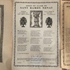 Coleccionismo Papel Varios: LOTE DE TRES GAIGS , DEL GLORIOSO PADRE SANT RAMÓN NONATO . TEXTO EN CATALÁN . . Lote 177872772