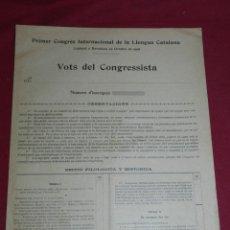 Coleccionismo Papel Varios: (ALB1) FOLLETO PRIMER CONGRES INTERNACIONAL DE LA LLENGUA CATALANA BARCELONA 1906. Lote 178036347