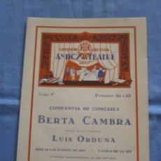 Coleccionismo Papel Varios: FOLLETO CENTRE DE LECTURA AMICS DEL TEATRE REUS - TEATRE BARTRINA - AÑO 1934. Lote 178096462