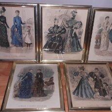Coleccionismo Papel Varios: 5 CUADROS ILUSTRACIONES MODA 1895-1986. Lote 178287513