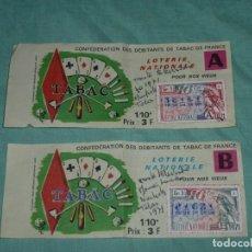 Coleccionismo Papel Varios: 2 PAPELETAS LOTERIA NACIONAL - CONFEDERACIÓN DE MINORISTAS DE TABACO EN FRANCIA.1971.. Lote 178311788