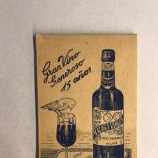 Coleccionismo Papel Varios: MALAGA VIRGEN. GRAN VINO GENEROSO. 15 AÑOS. LIBRETA PUBLICIDAD DE PEQUEÑO TAMAÑO (H.1960?). Lote 178717485