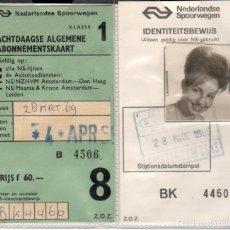 Coleccionismo Papel Varios: NEDERLANDSE SPOORWEGEN - HOLANDA - ABONO DE TRANSPORTE 1969. Lote 178922942
