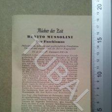 Coleccionismo Papel Varios: TUBAL 1933 MUSSOLINI PUBLICIDAD PUBLICACION EN ALEMANIA DE SU LIBRO FASCISMO B04. Lote 178951503