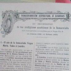 Coleccionismo Papel Varios: LOURDES 1909. Lote 179020215