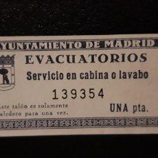 Coleccionismo Papel Varios: 1 ENTRADA ** EVACUATORIOS AYUNT. DE MADRID ** . Lote 179051601