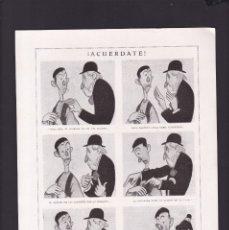 Coleccionismo Papel Varios: J. XAUDARÓ - CARICATURAS - 15 ABRIL 1923 - ORIGINAL RECUPERADO PUBLICACION. Lote 179521443