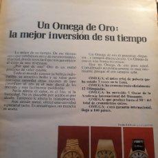 Coleccionismo Papel Varios: UN OMEGA DE ORO : LA MEJOR INVERSION DE SU TIEMPO - PUBLICIDAD RELOJES OMEGA AÑO 1971- 33 X 26 CM. Lote 180011715