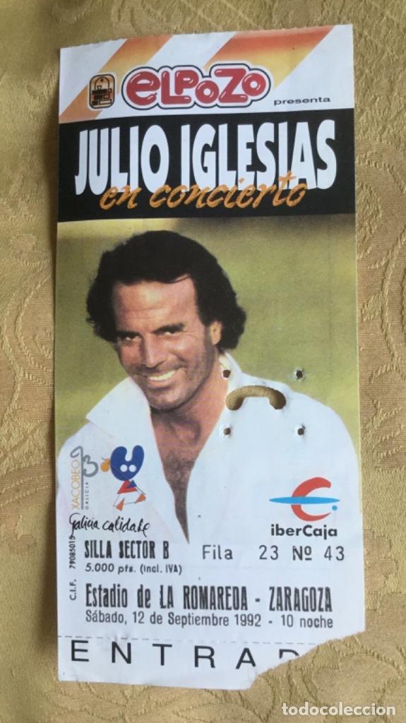 Coleccionismo Papel Varios: ENTRADA CONCIERTO JULIO IGLESIAS AÑO 92 ESTADIO LA ROMAREDA ZARAGOZA - Foto 6 - 180099655
