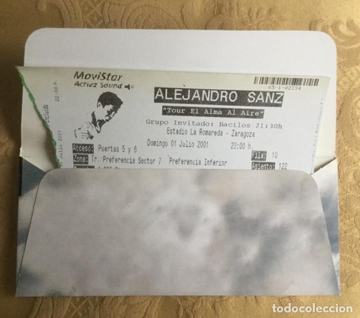 Coleccionismo Papel Varios: ENTRADA CONCIERTO DE ALEJANDRO SANZ TOUR EL ALMA AL AIRE ZARAGOZA AÑO 2001 - Foto 2 - 180119023