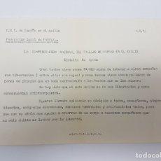 Coleccionismo Papel Varios: OCTAVILLA DE LA C.N.T. ( CONFEDERACIÓN NACIONAL DEL TRABAJO EN EL EXILIO ( CERCA 1960 ) EVREUX. Lote 181409912