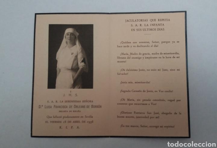 RECORDATORIO S.A.R DOÑA LUISA FRANCISCA DE ORLEANS DE BORBON 1958 SEVILLA, HAUSER Y MENET (Coleccionismo en Papel - Varios)
