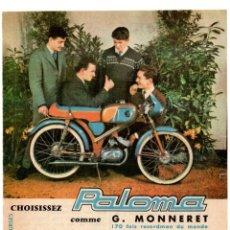 Coleccionismo Papel Varios: RECORTE DE PRENSA REVISTA O PERIÓDICO PUBLICIDAD MOTOS PALOMA MOTEURS LAVALETTE ADVERTISING MOTOR.... Lote 182608491
