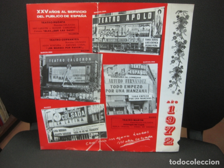Coleccionismo Papel Varios: EMPRESA COLSADA LES DESEA FELICES FIESTAS. AÑO 1972. TEATROS APOLO, ESPAÑOL, CALDERON,LA LATINA.... - Foto 2 - 182664276