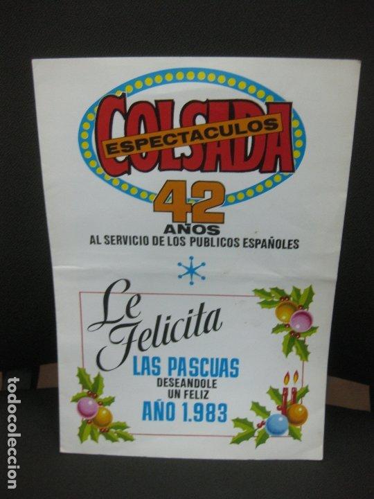 COLSADA ESPECTACULOS. 42 AÑOS. FELICES PASCUAS Y FELIZ 1983. (Coleccionismo en Papel - Varios)