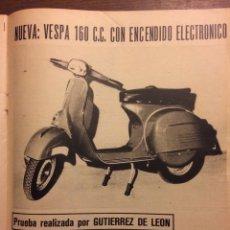 Coleccionismo Papel Varios: REPORTAJE MOTO VESPA 160 CC DE 1968. Lote 182892107