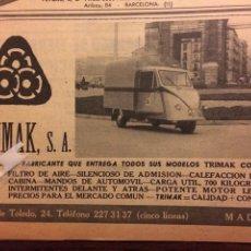 Coleccionismo Papel Varios: PUBLICIDAD MOTOCARRO TRIMAK DE 1962. Lote 182893997