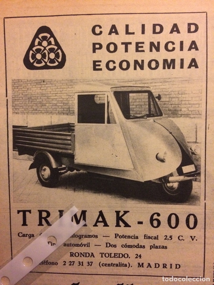 PUBLICIDAD MOTOCARRO TRIMAK DE 1961 (Coleccionismo en Papel - Varios)