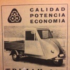 Coleccionismo Papel Varios: PUBLICIDAD MOTOCARRO TRIMAK DE 1961. Lote 182894405