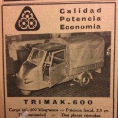 Coleccionismo Papel Varios: PUBLICIDAD MOTOCARRO TRIMAK 600 DE 1961. Lote 182895396