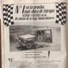 Coleccionismo Papel Varios: PUBLICIDAD AUTOMÓVIL TODOTERRENO SUZUKI SANTANA DE 1985. Lote 183076738
