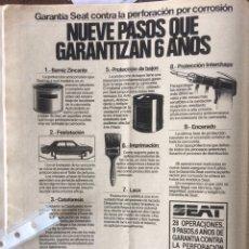 Coleccionismo Papel Varios: PUBLICIDAD AUTOMÓVIL SEAT DE 1983. Lote 183077082