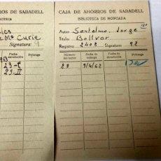 Coleccionismo Papel Varios: LOTE DE 2 FICHAS DE LA BIBLIOTECA DE LA CAJA DE AHORROS DE SABADELL. AÑOS 60.. Lote 183251165