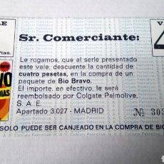 Coleccionismo Papel Varios: CUPÓN DE DESCUENTO DE DETERGENTE BIO BRAVO. VALE DE 4 PESETAS.. Lote 183252472