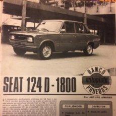 Coleccionismo Papel Varios: REPORTAJE AUTOMÓVIL SEAT 124 D 1800 DE 1977. Lote 183317827