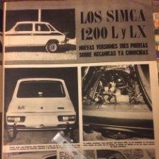 Coleccionismo Papel Varios: REPORTAJE AUTOMÓVIL SIMCA 1200 DE 1977. Lote 183318042