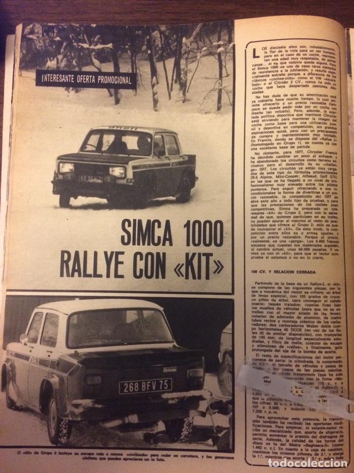 REPORTAJE AUTOMÓVIL SIMCA 1000 RALLYE DE 1977 (Coleccionismo en Papel - Varios)