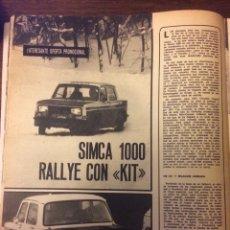 Coleccionismo Papel Varios: REPORTAJE AUTOMÓVIL SIMCA 1000 RALLYE DE 1977. Lote 183318345