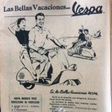 Coleccionismo Papel Varios: PUBLICIDAD MOTO VESPA DE 1955. Lote 183363807
